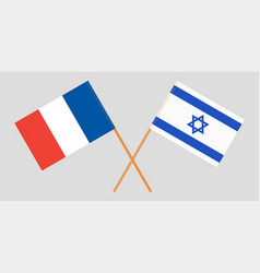 Crossed flags israel and france vector