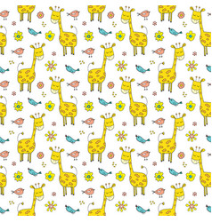 Cute giraffe seamless pattern cartoon hand drawn vector
