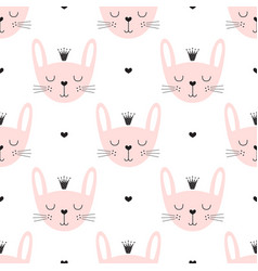 cute seamless bunny princess pattern vector image