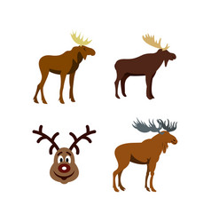 deer icon set flat style vector image