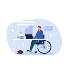 Disabled person in wheelchair working on laptop vector