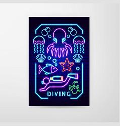diving neon flyer vector image