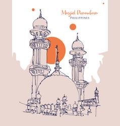 drawing sketch masjid dimaukom or pink vector image