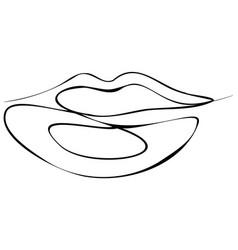 Female lips line art vector