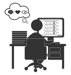 Flat computer icon with dating site isolated on vector