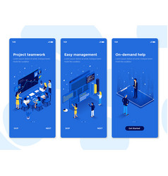 flat design oneboarding concepts - isometric 4 vector image