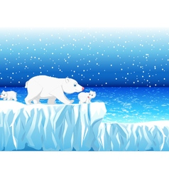 Funny polar bear family with snow mountain vector