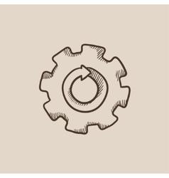 Gear wheel with arrow sketch icon vector