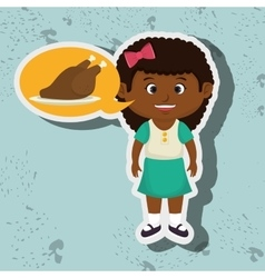 girl cartoon chicken food vector image