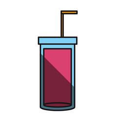 Glass juice with straw vector