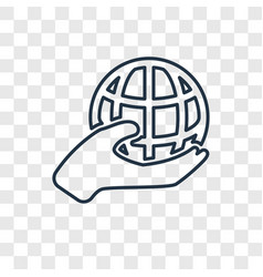 globe on hand concept linear icon isolated on vector image