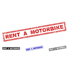 grunge rent a motorbike textured rectangle stamps vector image