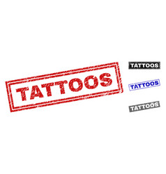 grunge tattoos scratched rectangle stamp seals vector image