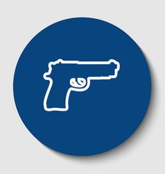 gun sign white contour icon vector image