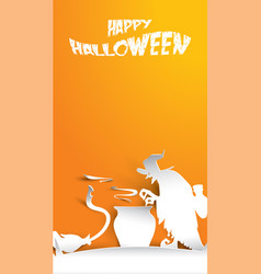 halloween background with witch in paper art vector image