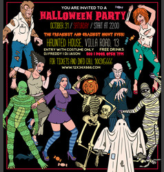 halloween costume party invitation flyers vector image