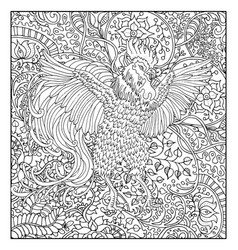 hand drawn rooster against floral pattern vector image