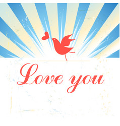 Holiday card with a bird in love vector