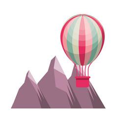 hot air balloon travel mountains vector image