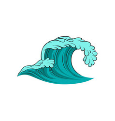 icon of curling sea wave blue ocean water vector image