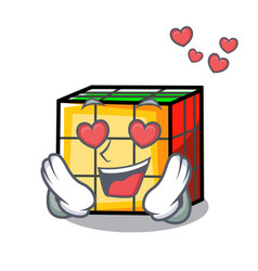 In love rubik cube mascot cartoon vector