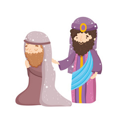 Joseph and wise king manger nativity merry vector