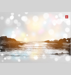 landscape with lake view on white glowing vector image