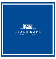 Letter ad rectangle logo design vector
