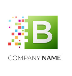 Letter b symbol in the colorful square vector