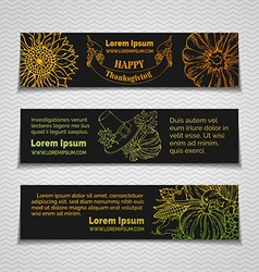 Linear Thanksgiving horizontal banners set vector