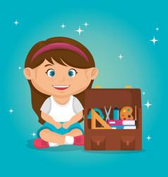 Little schoolgirl with education supplies vector