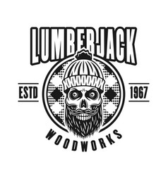 Lumberman skull with beard in circle emblem vector