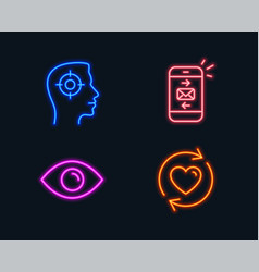 Mail recruitment and eye icons update vector