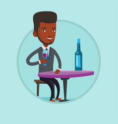 man drinking wine at restaurant vector image