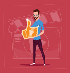 Man hold thumb up modern video blogger vlog vector