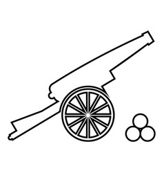 Medieval cannon firing cores icon black color vector