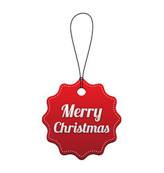 Merry Christmas Red stitched tag vector image