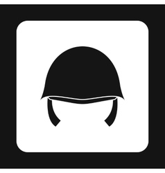 Military helmet icon simple style vector image