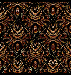 modern abstract floral 3d seamless pattern dark vector image