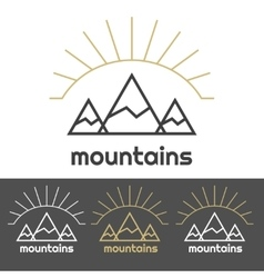 Mountains camp logo with sunrise behind hills vector