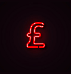 neon pound symbol vector image
