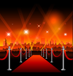 new-york city movie red carpet movie theater vector image