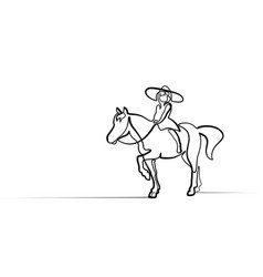 one line drawing small girl riding a horse vector image