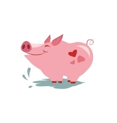 Pink Pig in Pool vector image