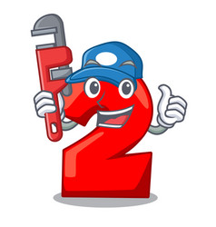 Plumber number two red isolated on mascot vector