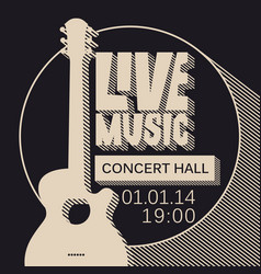 Poster for live music concert with guitar vector
