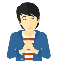 Regretful man with clasped hands vector