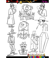 retro people set cartoon coloring page vector image