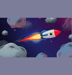 Rocket flying through astriods vector