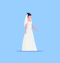 romantic bride in white dress young girl in gown vector image